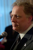 January 31 2003, Montreal, Quebec, Canada<br /> <br /> Jean Charest, Leader of  Quebec Liberal Party talk to the medias after a speech , January 31 2003 in Montreal, Canada.<br /> <br /> Quebec Provincial elections will be held April 14, 2003<br /> Mandatory Credit: Photo by Pierre Roussel- Images Distribution. (©) Copyright 2003 by Pierre Roussel
