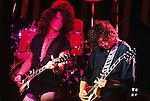 Led Zeppelin guitarist, Jimmy Page (right) jams with Aerosmith during the bands club concert in London.