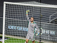CARSON, CA - OCTOBER 28: Marko Maric  #1 of the Houston Dynamo barking out directions during a game between Houston Dynamo and Los Angeles FC at Banc of California Stadium on October 28, 2020 in Carson, California.