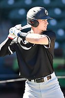Center fielder TJ Hopkins (5) of the South Carolina Gamecocks takes batting practice before the Reedy River Rivalry game against the Clemson Tigers on Saturday, March 3, 2018, at Fluor Field at the West End in Greenville, South Carolina. Clemson won, 5-1. (Tom Priddy/Four Seam Images)
