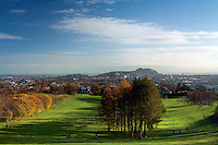 Edinburgh, Arthur's Seat, Salisbury Crags and Murrayfield Golf Course from Corstorphine Hill, Edinburgh