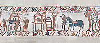 Bayeux Tapestry scene 47:  A house is burnt to clear the way for Williams Army and Duke William gets ready from battle. BYX47