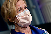 Ambassador Deborah L. Birx, M.D., White House Coronavirus Response Coordinator, wears a protective mask as she speaks during a news conference in the Brady Press Briefing Room of the White House in Washington, D.C., U.S., on Friday, May 22, 2020. United States President Donald J. Trump did not wear a face mask during most of his tour of Ford Motor Co.'s ventilator facility Thursday, defying the automaker's policies and seeking to portray an image of normalcy even as American coronavirus deaths approach 100,000. <br /> Credit: Andrew Harrer / Pool via CNP/AdMedia