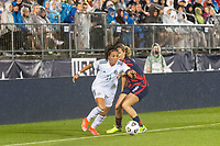 EAST HARTFORD, CT - JULY 1: Maria Sanchez #11 of Mexico is marked by Lindsey Horan #9 of the United States during a game between Mexico and USWNT at Rentschler Field on July 1, 2021 in East Hartford, Connecticut.