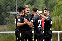 Hamish Watson of Team Wellington celebrates a goal with team mates during the ISPS Handa Men's Premiership - Team Wellington v Canterbury Utd at David Farrington Park, Wellington on Saturday 19 December 2020.<br /> Copyright photo: Masanori Udagawa /  www.photosport.nz