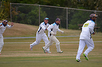Johnsonville celebrate winning the Pearce Cup Wellington men's cricket final between Johnsonville and Taita at Alex Moore Park in Johnsonville, New Zealand on Sunday, 28 March 2021. Photo: Dave Lintott / lintottphoto.co.nz