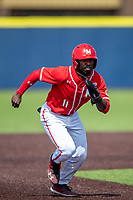 Maryland Terrapins outfielder Chris Alleyne (11) runs to third base against the Michigan Wolverines on May 23, 2021 in NCAA baseball action at Ray Fisher Stadium in Ann Arbor, Michigan. Maryland beat the Wolverines 7-3. (Andrew Woolley/Four Seam Images)