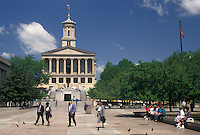 AJ4155, Nashville, State Capitol, State House, Tennessee, The Legislative Plaza in front of The State Capitol Building in the capital city of Nashville in the state of Tennessee. The capitol building is an example of Greek Revival architecture.