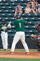 Justin Twine (1) of the Greensboro Grasshoppers at bat against the Hickory Crawdads at L.P. Frans Stadium on May 6, 2015 in Hickory, North Carolina.  The Crawdads defeated the Grasshoppers 1-0.  (Brian Westerholt/Four Seam Images)