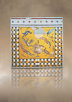 Birds around a  vase From Daphne, a suburb of Antioch, Antakya, Turkey, 1st half of 3rd century AD. Marble cubes, limestone and glass. A border of geometric perspective cubes surround a scene with one bird sitting on the vase of Daphne whilst the other surround it. The naturalistic skill of the Roman Antioch mosaic artists is so good that it is possible to tell the species of each bird. inv 3461, Louvre Museum, Paris