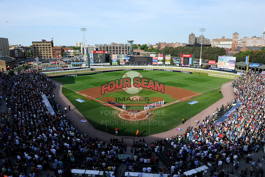 Overhead view of the stadium during the national anthem before the MLB Pepsi Max Field of Dreams game on May 18, 2013 at Frontier Field in Rochester, New York.  (Mike Janes/Four Seam Images)