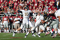 Brock Mansion throws the ball. The University of California football defeated Washington State University 20-13 at Martin Stadium in Pullman, Washington on November 6th, 2010.