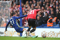 Ben Chilwell of Chelsea fouls Southampton's Valentino Livramento and referee Martin Atkinson awards a penalty to Southampton during Chelsea vs Southampton, Premier League Football at Stamford Bridge on 2nd October 2021