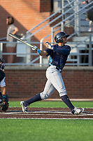 Anderson Miller (24) of the Wilmington Blue Rocks follows through on his swing against the Buies Creek Astros at Jim Perry Stadium on April 29, 2017 in Buies Creek, North Carolina.  The Astros defeated the Blue Rocks 3-0.  (Brian Westerholt/Four Seam Images)