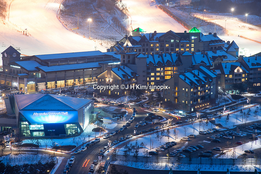 The New Concert Hall at the Alpensia Resort. It is located on the territory of the township of Daegwallyeong-myeon, in the county of Pyeongchang.  Alpensia Resort will host some events  for the 2018 Winter Olympics and 2018 Winter Paralympics in Pyeongchang.