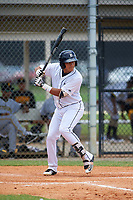 GCL Tigers West Keyder Aristigueta (9) bats during a game against the GCL Pirates on July 17, 2017 at TigerTown in Lakeland, Florida.  GCL Tigers West defeated the GCL Pirates 7-4.  (Mike Janes/Four Seam Images)