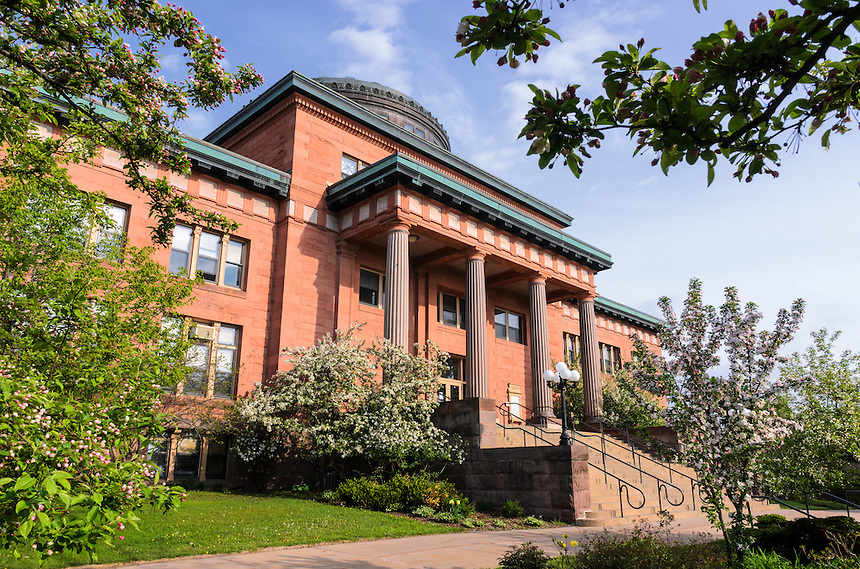 The historic Marquette County Courthouse during spring bloom. Marquette, MI