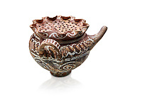 "Minoan Kamares Ware beak spouted ""teapot"" with herb strainer and  polychrome decorations, Phaistos 1800-1650 BC; Heraklion Archaeological  Museum, white background.<br /> <br /> This style of pottery is named afetr Kamares cave where this style of pottery was first found"