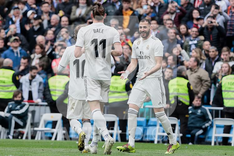 Real Madrid's (L-R) Luka Modric, Gareth Bale and Karim Benzema celebrate goal during La Liga match between Real Madrid and Athletic Club de Bilbao at Santiago Bernabeu Stadium in Madrid, Spain. April 21, 2019. (ALTERPHOTOS/A. Perez Meca)