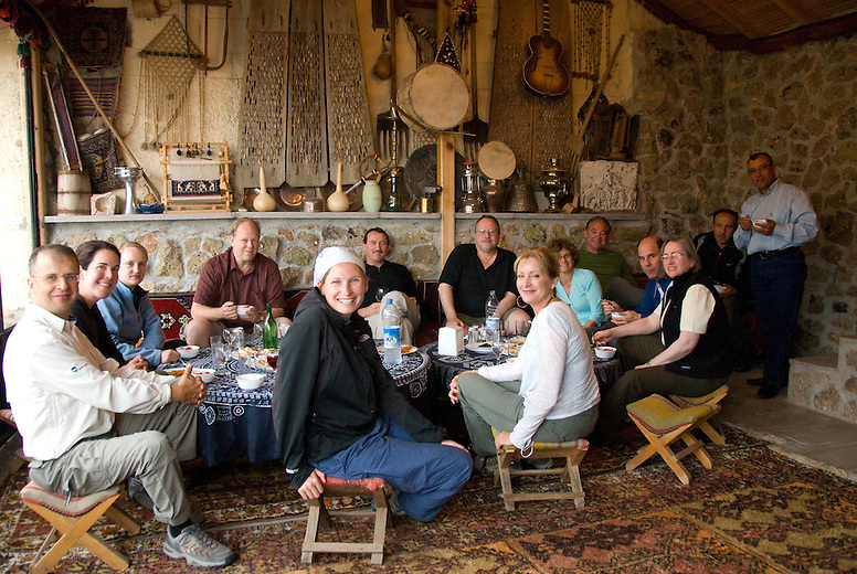 A Backroads group stops for lunch at Galerie Faruk, Uchisar.  After lunch the group was treated to a display of fine Turkish rugs that the owner had for sale in his adjacent showroom.