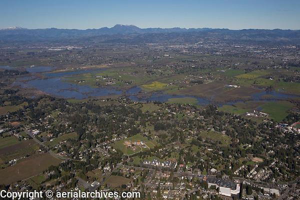 aerial photograph of Sebastopol toward Santa Rosa with Mount Saint Helena, Sonoma County, California