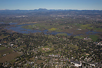 aerial photograph of Sebastopol toward Santa Rosa with Mount Saint Helena, Sonoma County, California