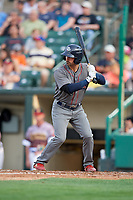 Lehigh Valley IronPigs shortstop Dean Anna (8) at bat during a game against the Rochester Red Wings on June 29, 2018 at Frontier Field in Rochester, New York.  Lehigh Valley defeated Rochester 2-1.  (Mike Janes/Four Seam Images)