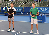 DELRAY BEACH, FLORIDA - JANUARY 13: Hubert Hurkacz of Poland and Sebastian Korda are seen during the trophy presentation during the Finals of the Delray Beach Open at Delray Beach Tennis Center on January 13, 2021 in Delray Beach, Florida.. Credit: mpi04/MediaPunch