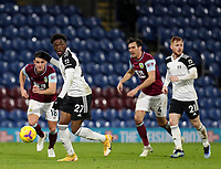 17th February 2021; Turf Moor, Burnley, Lanchashire, England; English Premier League Football, Burnley versus Fulham; Josh Maja of Fulham controls the ball under pressure from Ashley Westwood and Jack Cork of Burnley