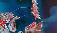 infrared aerial photo map Port Isabel Padre Island Port Brownsville ship channel Texas