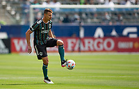 CARSON, CA - APRIL 25: Daniel Steres #5 of the Los Angeles Galaxy traps the ball during a game between New York Red Bulls and Los Angeles Galaxy at Dignity Health Sports Park on April 25, 2021 in Carson, California.