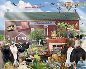 Lori, LANDSCAPES, LANDSCHAFTEN, PAISAJES, paintings+++++White Mountain Farm,USLS335,#l#, EVERYDAY ,puzzle,puzzles