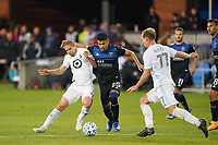 SAN JOSE, CA - MARCH 7: Andy Rios #25 of the San Jose Earthquakes is marked by Osvaldo Alonso #6 of Minnesota United during a game between Minnesota United FC and San Jose Earthquakes at Earthquakes Stadium on March 7, 2020 in San Jose, California.