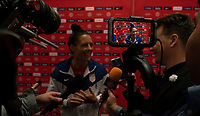 HOUSTON, TX - JANUARY 31: Ali Krieger #11 of the United States talks to the media during a game between Panama and USWNT at BBVA Stadium on January 31, 2020 in Houston, Texas.