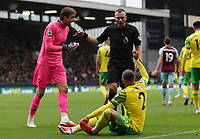 2nd October 2021;  Turf Moor, Burnley, Lancashire, England; Premier League football, Burnley versus Norwich City: Norwich City goalkeeper Tim Krul and Max Aarons of Norwich City remonstrate with referee Kevin Friend