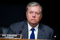 """United States Senator Lindsey Graham (Republican of South  Carolina), Chairman, US Senate Judiciary Committee, attends the US Senate Judiciary Committee hearing titled """"Examining Best Practices for Incarceration and Detention During COVID-19,"""" in Dirksen Building in Washington, D.C. on Tuesday, June 2, 2020.<br /> Credit: Tom Williams / Pool via CNP/AdMedia"""
