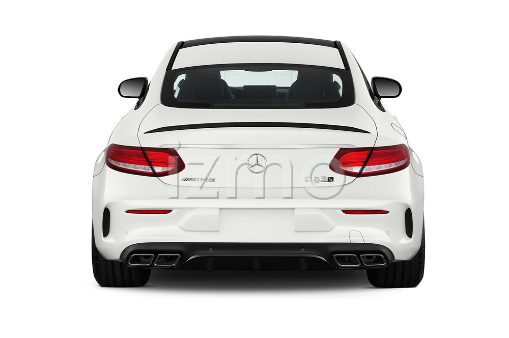 Straight rear view of a 2018 Mercedes Benz C-Class Coupe AMG C63 S 2 Door Coupe stock images