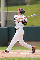 Steve Domecus #26 of the Virginia Tech Hokies follows through on his swing against the Boston College Eagles at English Stadium May 2, 2010, in Blacksburg, Virginia.  Photo by Brian Westerholt / Four Seam Images