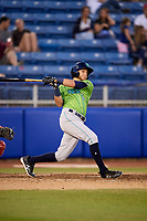 Lynchburg Hillcats third baseman Alexis Pantoja (6) follows through on a swing during a game against the Salem Red Sox on May 10, 2018 at Haley Toyota Field in Salem, Virginia.  Lynchburg defeated Salem 11-5.  (Mike Janes/Four Seam Images)