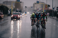 yet another straighforward downpour hits the breakaway group on their way to the finale<br /> <br /> 109th Milano-Sanremo 2018<br /> Milano > Sanremo (291km)