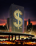 Illustrative image of dollar sign on building at night representing around the clock business