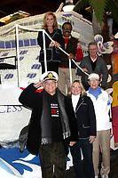 "LOS ANGELES - DEC 30:  Top (L-R) Jill Whelan, Ted Lange, Fred Grandy; Bottom (L-R) Gavin MacLeod, Lauren Tewes, Bernie Kopell at the Original ""Love Boat"" Cast decorates Princess Cruises' Rose Parade Float at a Rosemont Pavilion on December 30, 2014 in Pasadena, CA"