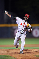 Richmond Flying Squirrels relief pitcher Rodolfo Martinez (50) during a game against the Erie SeaWolves on August 22, 2016 at Jerry Uht Park in Erie, Pennsylvania.  Erie defeated Richmond 4-2.  (Mike Janes/Four Seam Images)