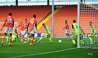 Blackpool's Brad Potts sees his shot saved by Exeter City's Bobby Olejnik<br /> <br /> Photographer Kevin Barnes/CameraSport<br /> <br /> Football - The EFL Sky Bet League Two - Blackpool v Exeter City - Saturday 6th August 2016 - Bloomfield Road - Blackpool<br /> <br /> World Copyright © 2016 CameraSport. All rights reserved. 43 Linden Ave. Countesthorpe. Leicester. England. LE8 5PG - Tel: +44 (0) 116 277 4147 - admin@camerasport.com - www.camerasport.com