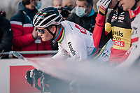 CX world champion Mathieu Van der Poel (NED/Alpecin-Fenix) on the start grid<br /> <br /> Men's Race<br /> UCI Cyclocross World Cup Namur 2020 (BEL)<br /> <br /> ©kramon