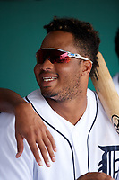 Detroit Tigers Dawel Lugo (71) jokes with teammates in the dugout during an Instructional League game against the Toronto Blue Jays on October 12, 2017 at Joker Marchant Stadium in Lakeland, Florida.  (Mike Janes/Four Seam Images)