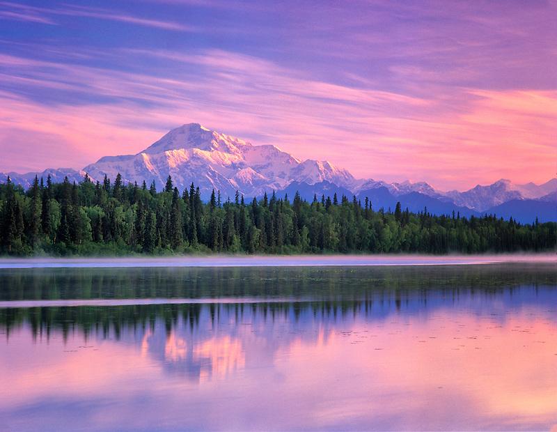 Mt. McKinley reflected in small pond near Talkeetna, Alaska