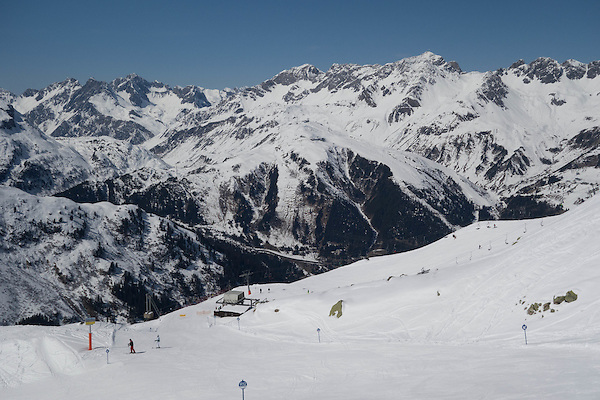 Rendl Ski Area with St Anton behind, Austria,