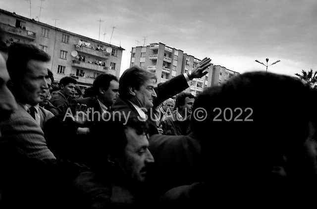 Lushnje, Albania<br /> February 1997<br /> <br /> Albanian President Sali Berisha speaks in a city torn apart by demonstrators after the collapse of an investment pyramid. The residents of this town had taken the Vice Prime Minister hostage for several days.