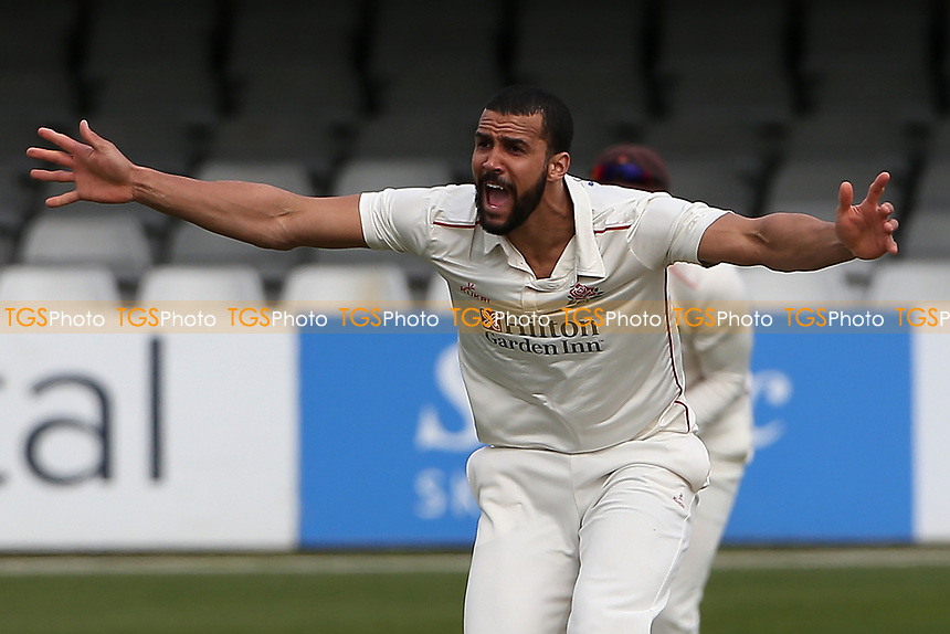 Liam Hurt of Lancashire appeals for the wicket during Essex CCC vs Lancashire CCC, Friendly Match Cricket at The Cloudfm County Ground on 25th March 2021
